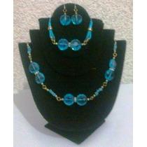 Collar,pulsera Y Aretes Juego Azul Brillante Joyería Fina