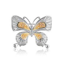 Bling Jewelry Vendimia Dos Tono Pavimentar Cz Mariposa Pin