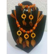 Collar,pulsera Y Aretes Juego Naranja Joyería Fina
