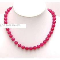 Collar De Jade Rosa Fuerte Genuino Con Broche De Plata 80 Qt