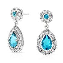 Bling Jewelry Corona Pendientes Largos Cz Teardrop Set Aquam