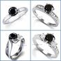 Anillo De Compromiso Diamante Negro .33ct Oro Blanco 10k