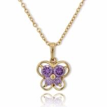 Collar Laminado En Oro Dije De Mariposa Cristal Amatista