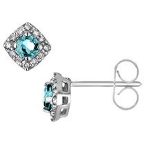 Pendientes Aquamarine Con Diamantes En 10k Oro Blanco
