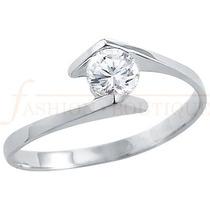 Anillo Compromiso Diamante Natural .10ct (puntos) Oro 14 Kt.