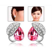 Pendiente De La Hoja En Forma De Cristal De Color Rosa