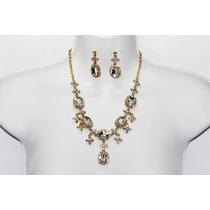 Conjunto Elegante Oro Y Piedras Cristal Con Aretes Ce34