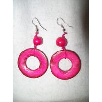 Gcg Aretes De Coco Circulos Color Rosa Mexicano Y Rojo Bfn
