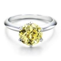Anillo De Diamante Amarillo Corte Brillante .50 Ct Y Oro 14k