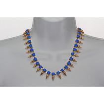 Collar Moda Cuentas Biseladas Azules Y Puntas Doradas