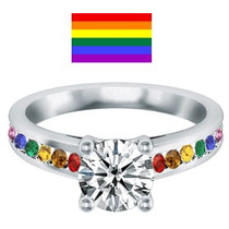 Anillo Arcoiris ( Gay ) En Plata, Oro, Diamante Ruso 50pts