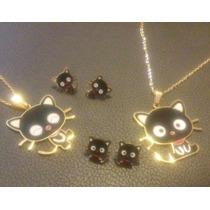 Chococat Hello Kitty Collar + Aretes Oro 18k Incluye Envío!