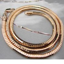 Gargantilla / Cadena Unisex 18k Laminado Tejido Serpenti Oro