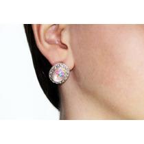 Arete Moda Plateado Óvalo Cristales Y Piedra Tornasol Ar464