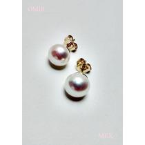 Aretes Oro 14k Solido Con Perlas Naturales Blancas 9mm