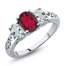 Ruby Red Mystic Anillo De Oro Blanco Topaz