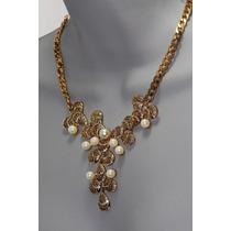 Collar Moda Dorado, Perlas Y Hojas Doradas Y Pedrería