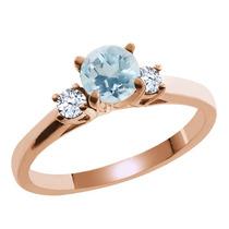 Anillo Oro Rosa Bañado En Plata Con Aguamarina Azul Cielo