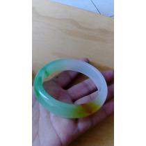 Pulsera De Jade Amarillo Verde Y Blanco De 66 Mm De Diámetro