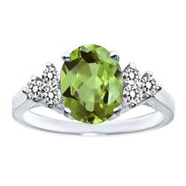1.55 Ct Oval Verde Peridot White Diamond 14k Anillo Oro Blan