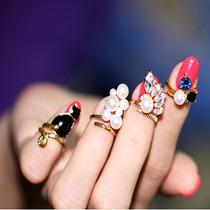 Anillos Set 4 Para Nudillo Y Uñas Chapa De Oro Zirconia Perl