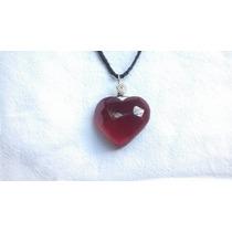 Corazón Cristal Facetado Rojo Dije Collar Ome_artesanal