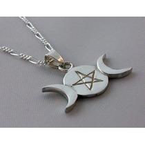 Dije Triple Diosa De La Luna Pentagrama Wicca Plata Ley 925
