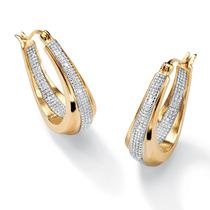 Diamante Acento 18k Oro Encima Plata Pendientes
