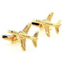 Mancuernillas Avion Dorado Piloto Vuelo Acero Gemelos
