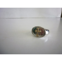 Anillo Italiano Plata Solida 925 Cruz Oro 18k- Medida 6 1/2