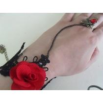 Brazalete-gotico-victoriano-rosa-vintage-moda-anillo-encaje-