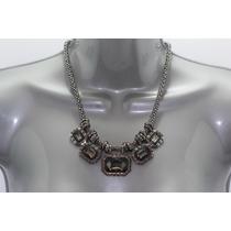 Collar Moda Negro, Cristales Biselados Obscuros Cc179