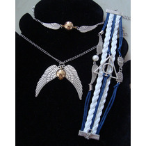 Set 3 Pzas Collar Pulsera Harry Potter Snitch Reliquias