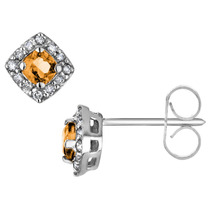 Pendientes Citrino Con Diamantes En 10k Oro Blanco