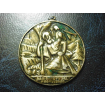 Mexico Medalla Religiosa Con Lema San Cristobal Protegenos