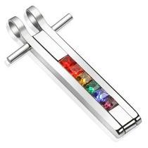 Dije De Acero Inox Diseño Cruz Orgullo Gay Con Cristales
