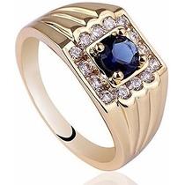 Precioso Anillo Caballero Zafiro & Diamante Envío Gratis