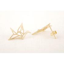 Aretes De Moda En Forma De Pajaro Origami Chapado Bisuteria