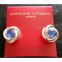 Aretes Nudo Plateado C/ Cristal Azul Adrienne Vittadini