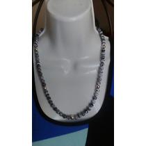 Collar De Turquesa Turca Con Esferas De Plata 9,25