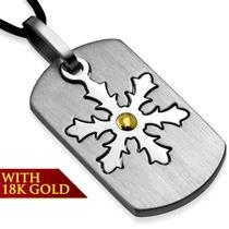 Collar De Acero Y Oro De 18k Placa Copo De Nieve