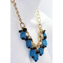 Collar Moda Eslabón Dorado Y Cilindros Azules
