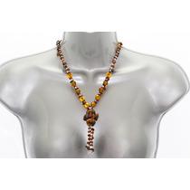 Collar De Piedra Corto Ojo De Tigre Y Cristal Ccpn108