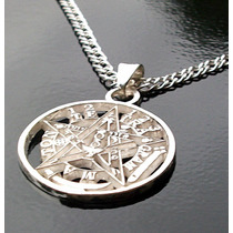 Dije Tetragramaton Diámetro 25mm Resistente Plata Sólida Ley