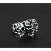 Skull Anillo De Calaveras Plata.925