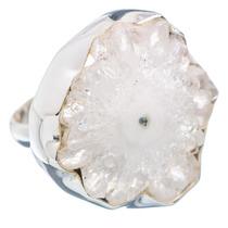White Solar Quartz, Cuarzo Blanco Solar 925 Plata Ring 6.25