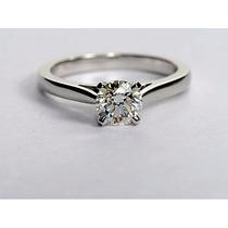 Anillo De Compromiso En Plata Fina, Baño Oro 14k, Diamante