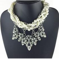 Elegante Maxi Collar Estilo Vintage Con Flores Y Perlas