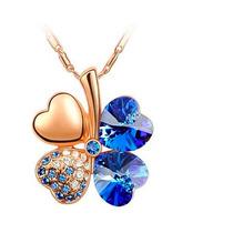 Trebol De La Suerte En Cristal Azul Collar Dije Con Cadena