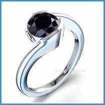 Anillo De Compromiso Diamante Natural Negro Oro 14k -50% 030